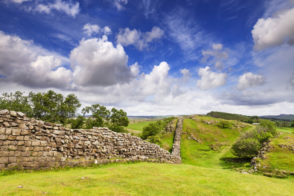 Hadrian's Wall under a dramatic sky at Walltown Crags, Northumberland, England