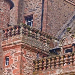 Red sandstone walls of Thirlestane Castle