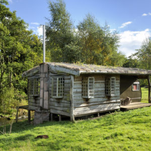 Fishing Hut glamping at Dod Mill