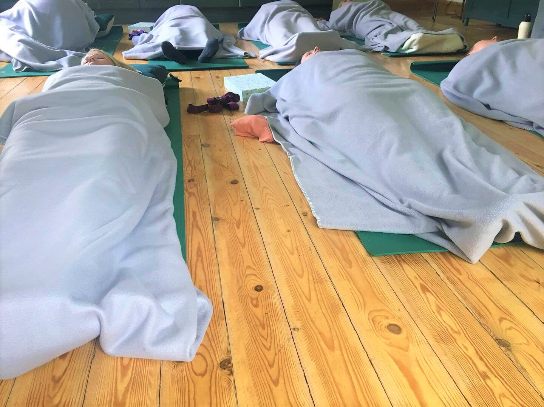 Meditation time at a recent Dod Mill yoga retreat